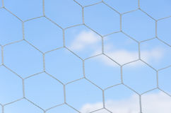 Soccer goal net in soccer stadium Royalty Free Stock Photos