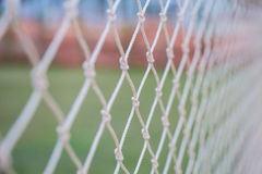 Soccer goal nets. White a soccer goal nets Stock Photos