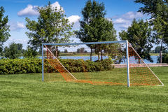 Soccer goal outdoor Stock Image
