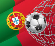 Soccer Goal. Portuguese flag with a soccer ball. Royalty Free Stock Photography
