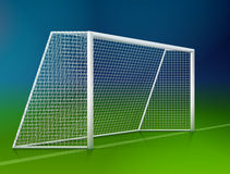 Soccer goal post with net, side view Stock Image