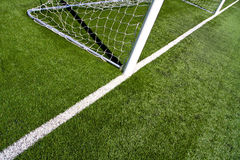 Soccer Goal Posts. Closeup on the soccer goal posts and white field lines stock photos