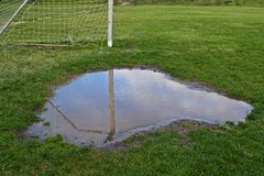 Soccer Goal Puddle Royalty Free Stock Images