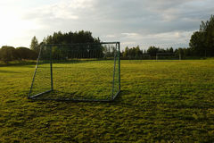 Soccer goal on the rural sports field Stock Photo