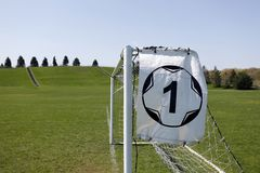 Soccer goal and sign Royalty Free Stock Photos