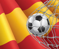 Soccer Goal. Spanish flag with a soccer ball. Stock Photography
