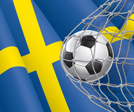 Soccer Goal. Swedish flag with a soccer ball. Stock Image