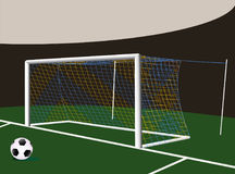 Soccer goal with two colors net. Soccer football goalpost with two colors net. Easy to remove yellow parts of nets Stock Image