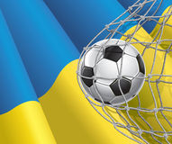 Soccer Goal. Ukrainian flag with a soccer ball. Royalty Free Stock Photography