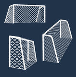 Soccer  goal various views. Royalty Free Stock Photo