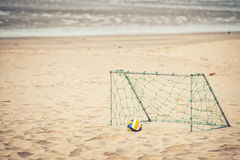 Soccer goal. On the white sand beach at Island,Thailand Stock Photo
