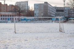 Soccer goal in the winter in the city Royalty Free Stock Photography