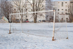 Soccer goal in the winter in the city Stock Images