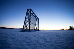 Soccer goal in winter Stock Images