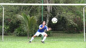 Soccer Goalie Blocks Ball stock video footage