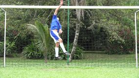 Soccer Goalie Blocks Ball stock video