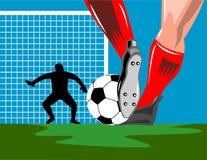Soccer Goalie defending. Vector art on the international sport of soccer Royalty Free Stock Image