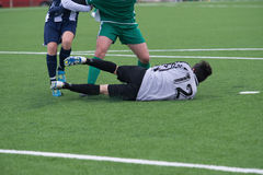Soccer goalkeeper in action Royalty Free Stock Photo