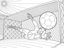 Soccer goalkeeper batted ball hand drawing vector illustration Royalty Free Stock Image
