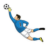 Soccer goalkeeper catches the ball on white background. vector i Stock Photos