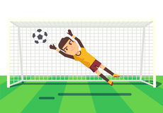 Soccer goalkeeper catching a ball illustration Royalty Free Stock Images