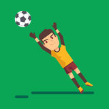 Soccer goalkeeper catching a ball illustration Royalty Free Stock Image