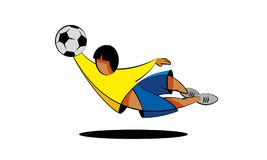 Cartoon football player in yellow and blue clothes on a white background. Soccer goalkeeper character catches the ball in a jump. Cartoon football player in Royalty Free Stock Photo