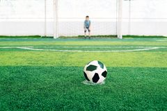Soccer goalkeeper on the field. Young boy as a football goalkeeper. stock photography