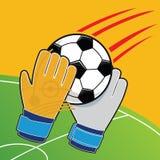 Soccer goalkeeper gloves batted ball vector Royalty Free Stock Image