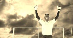 Soccer goalkeeper in goal. Digital composite of Soccer goalkeeper in goal royalty free stock photography