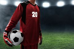 Free Soccer Goalkeeper Hold Soccer Ball Royalty Free Stock Photography - 121385757