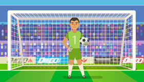 Soccer goalkeeper keeping goal on arena vector illustration. Flat. Football keeper in frame. Soccer goalkeeper keeping goal on arena vector illustration. Flat Royalty Free Stock Photos