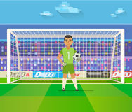 Soccer goalkeeper keeping goal on arena vector illustration. Flat. Football keeper in frame. Soccer goalkeeper keeping goal on arena vector illustration. Flat Stock Photography