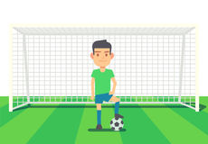 Soccer goalkeeper keeping goal vector illustration Royalty Free Stock Photo