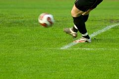Soccer goalkeeper kick the bal Stock Image