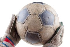 Soccer goalkeeper's gloves and the ball Royalty Free Stock Photo