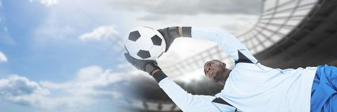 Soccer goalkeeper saving football with transition. Digital composite of Soccer goalkeeper saving football with transition stock photos