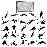 Soccer goalkeeper silhouette set Stock Photo