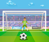 Soccer. Goalkeeper, vector illustration of a goalkeeper prepares to take a penalty.  Royalty Free Stock Images