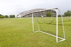 Soccer goalpost. An image of a soccer game goalpost with the backdrop of a massive stadium royalty free stock photography