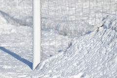 Soccer goalpost and snow Royalty Free Stock Photos