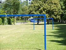 Soccer goals in a park Stock Images