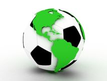 Soccer gold ball and continents, 3D Royalty Free Stock Image