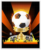 Soccer Gold cup championship with fire Stock Photo