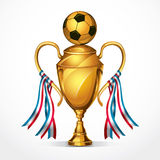 Soccer Golden award trophy and ribbon. Royalty Free Stock Photos