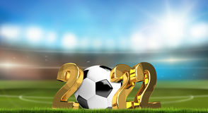 Soccer 2022 golden 3d render. Illustration Stock Image