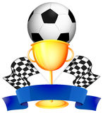 Soccer and golden trophy Royalty Free Stock Image