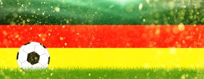 Soccer on grass in front of Germany colors Royalty Free Stock Image