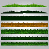 Soccer grass pack. Silhouette green grass collection pack vector graphic Royalty Free Stock Image
