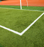 Soccer grass and white lines Royalty Free Stock Photography
